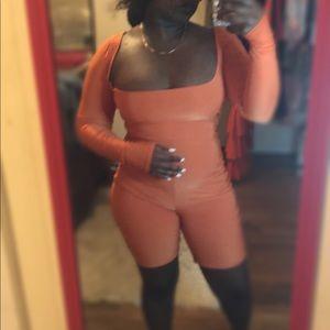 Orange Short Jumpsuit
